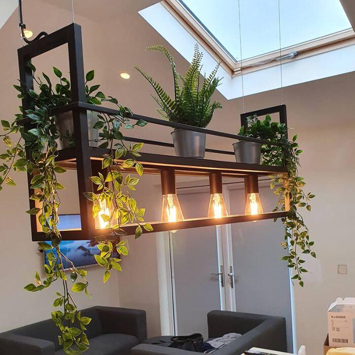 Industriell-hängande-lampa-svart-med-rack-4-ljus---Cage-Rack