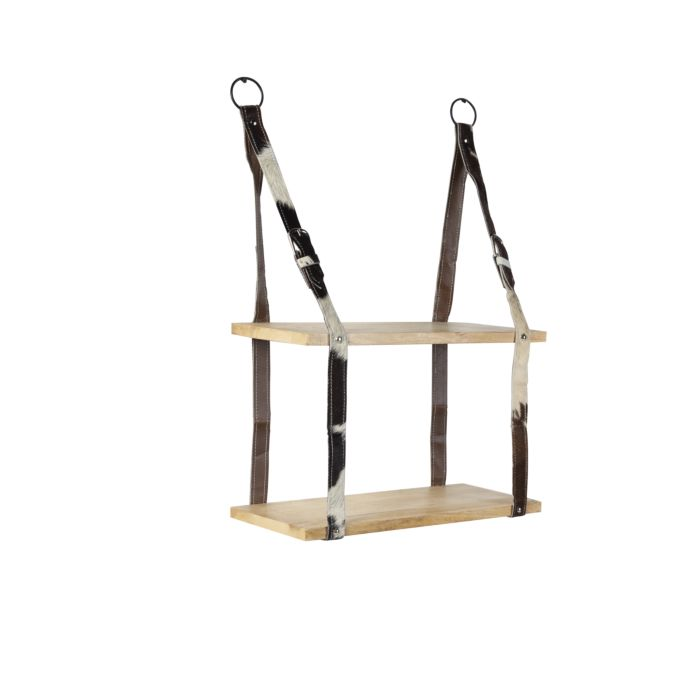 Industriellt-väggställ-med-2-trähyllor-och-läderrem---Bälte
