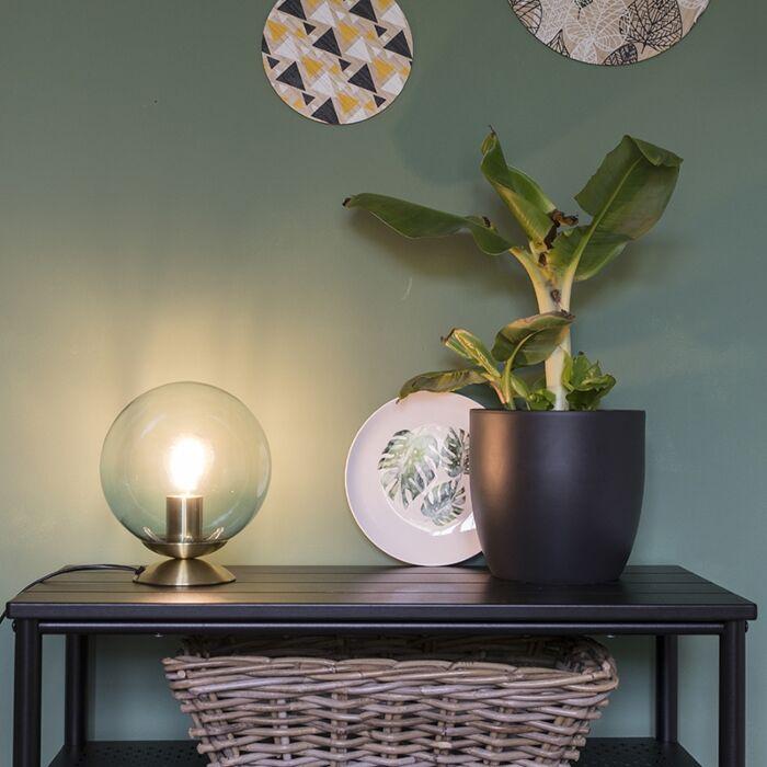 Art-deco-bordslampa-mässing-med-blått-glas---Pallon