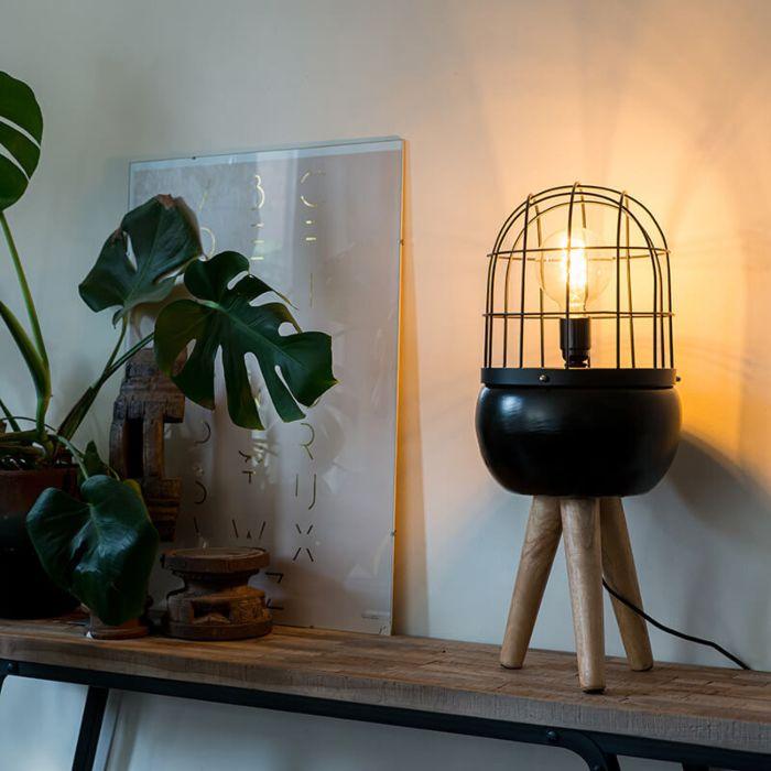 Modern-Bordslampa-Svart-med-Tripod-i-Trä---Birds