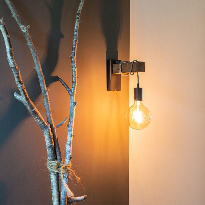 Industriell-vägglampa-svart-med-trä---Galg