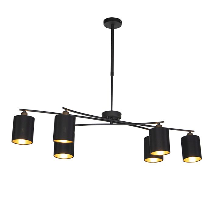 Designringhängande lampa svart 40 cm inkl LED och dimmer