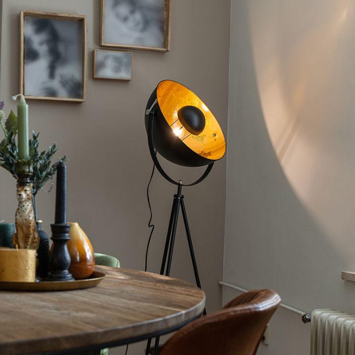 Industriell-golvlampa-stativ-svart---Magna-40-Eglip