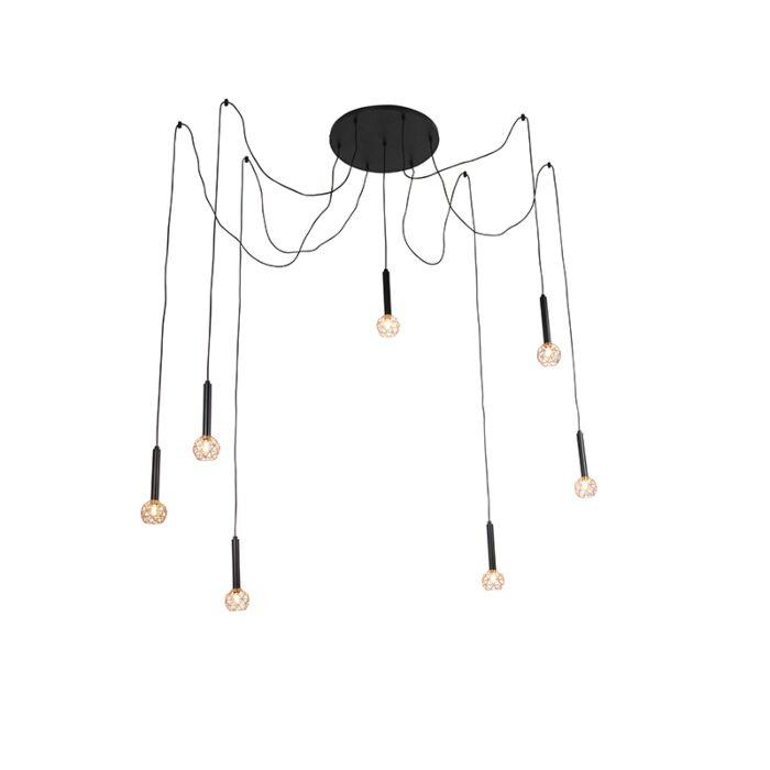 Hängande-lampa-svart-med-koppar-7-lampor---Mesh
