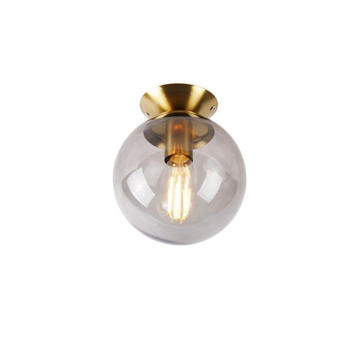 Art-deco-taklampa-mässing-med-rökglas---Pallon