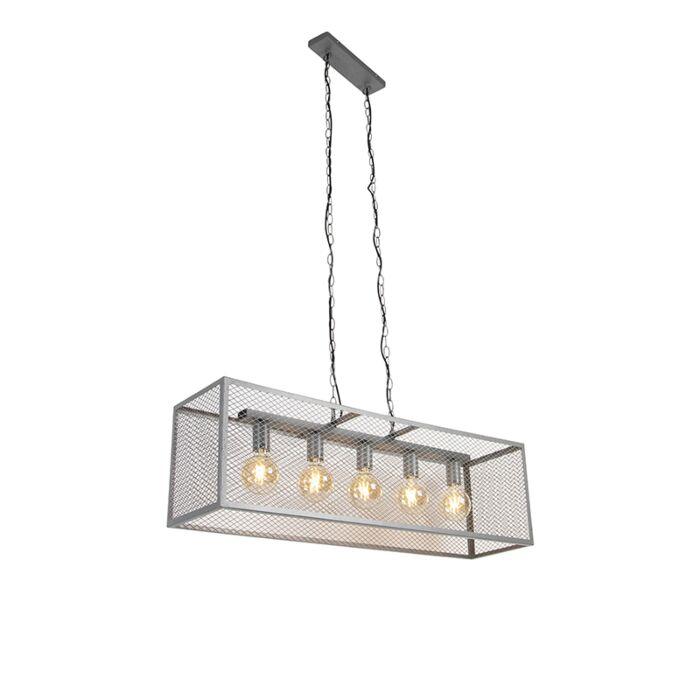 Industriell-hänglampa-antik-silver-5-ljus---Cage-Robusto
