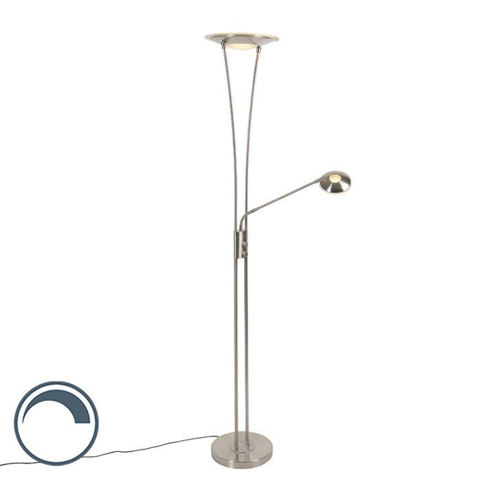 Modernt-golvlampa-stål-inkl-LED-med-läsarm---Ibiza