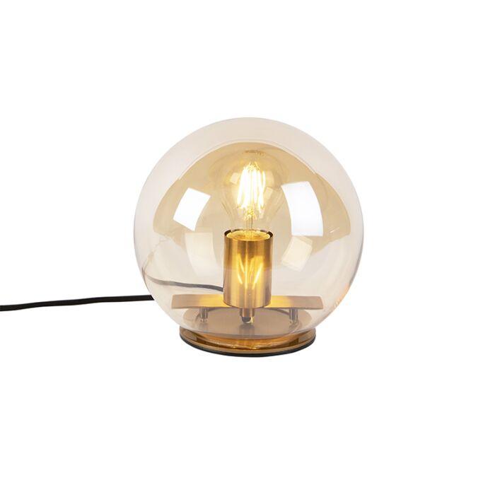 Art Deco bordslampa mässing med bärnstensglas 20 cm Pallot