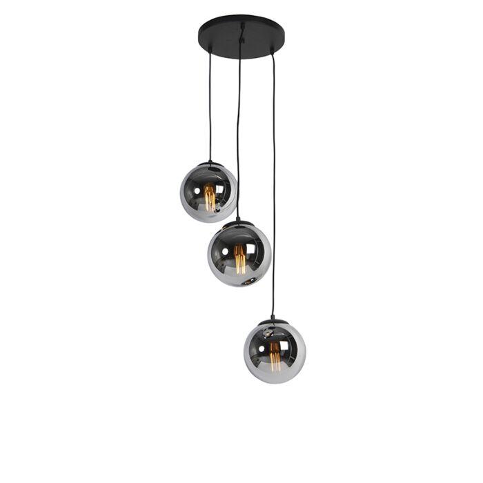 Art-deco-hängande-lampa-svart-med-rökglas-3-ljus---Pallon