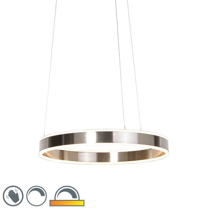 Modern-hängande-lampa-stål-inkl-LED-60-cm-dim-till-varm---Ollie