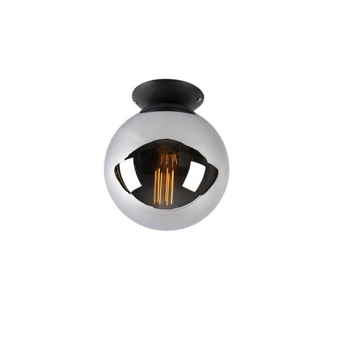 Art-deco-taklampa-svart-med-rökglas---Pallon