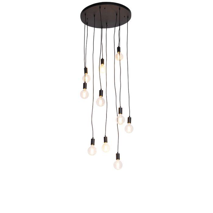 Modern-hängande-lampa-svart-60-cm-10-ljus---Facil