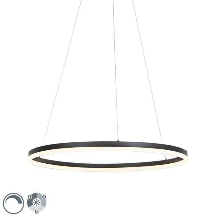 Designringhängande-lampa-svart-80-cm-inkl-LED-och-dimmer---Anello