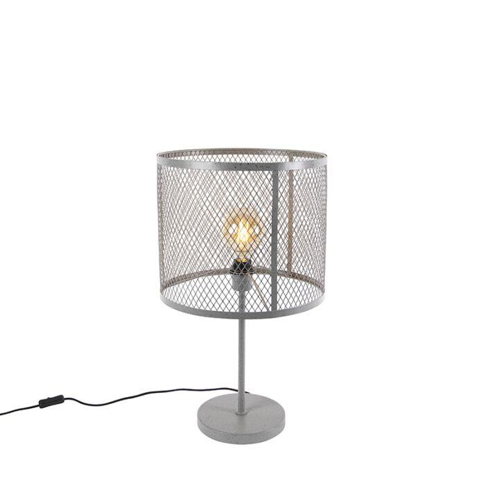 Industriell-rundbordslampa-antik-silver---Cage-Robusto