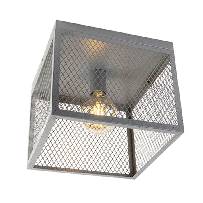 Industriell-taklampa-antik-silver---Cage-Robusto