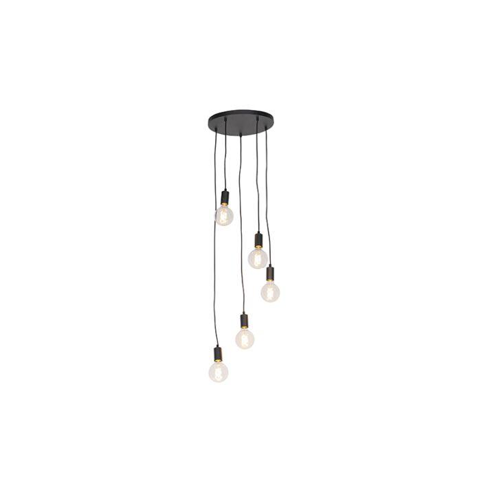 Modern-hängande-lampa-svart-35-cm-5-ljus---Facil