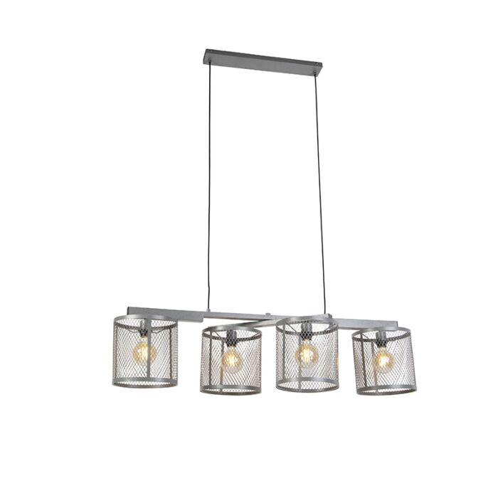 Industriell-hänglampa-antik-silver-4-ljus---Cage-Robusto