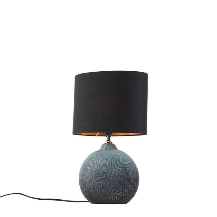 Bordslampa blå med svart skugga 23 cm Cleo | Lamporochljus