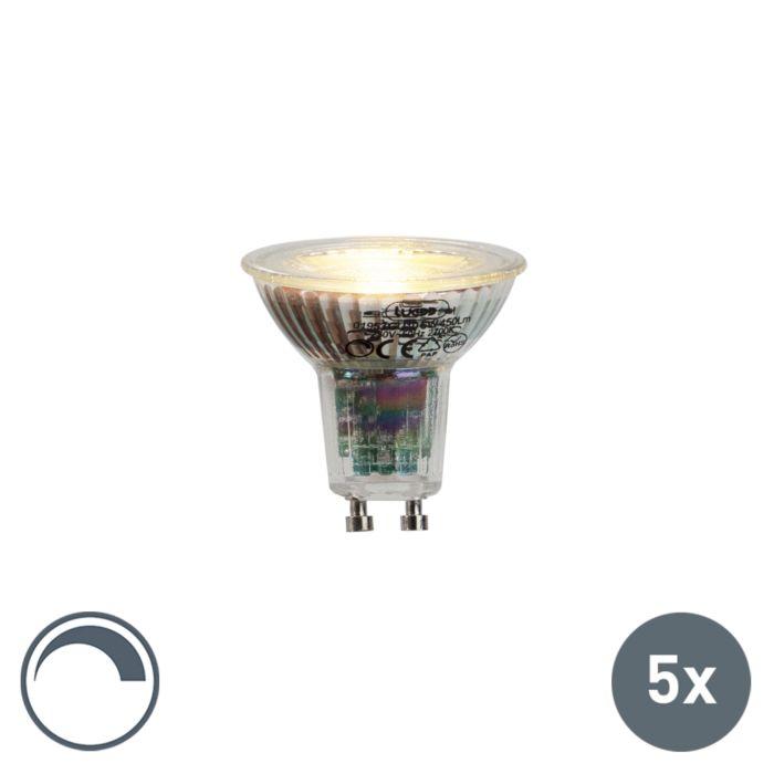 Uppsättning-av-5-GU10-LED-lampor-6W-450lumen-2700K-dimbar