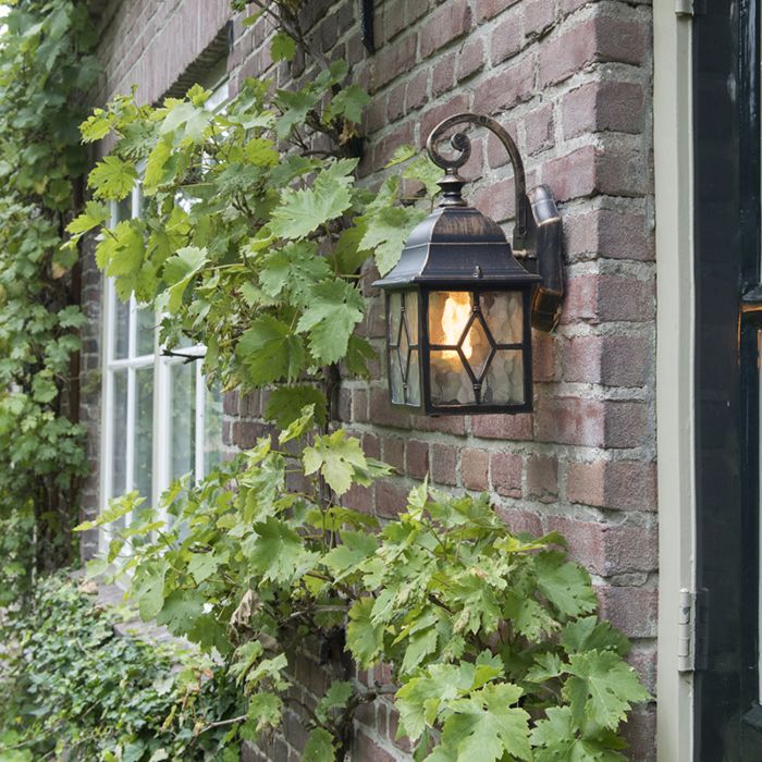 Romantisk-vägglampa-utomhus-brons---London