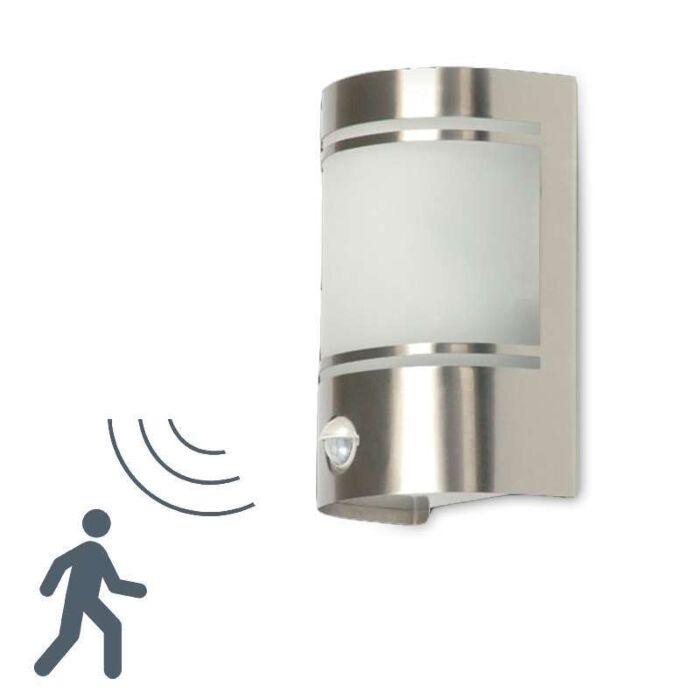 Vägglampa-med-rörelsedetektor/sensor-'Boston'-Moderna-rostfritt-stål---Passande-för-LED-/-Utomhuslampa