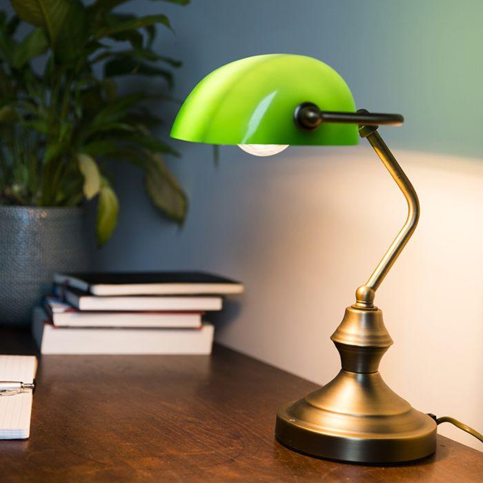 Bankirlampa-'Banker'-Klassisk-brons---Passande-för-LED-/-Inomhus