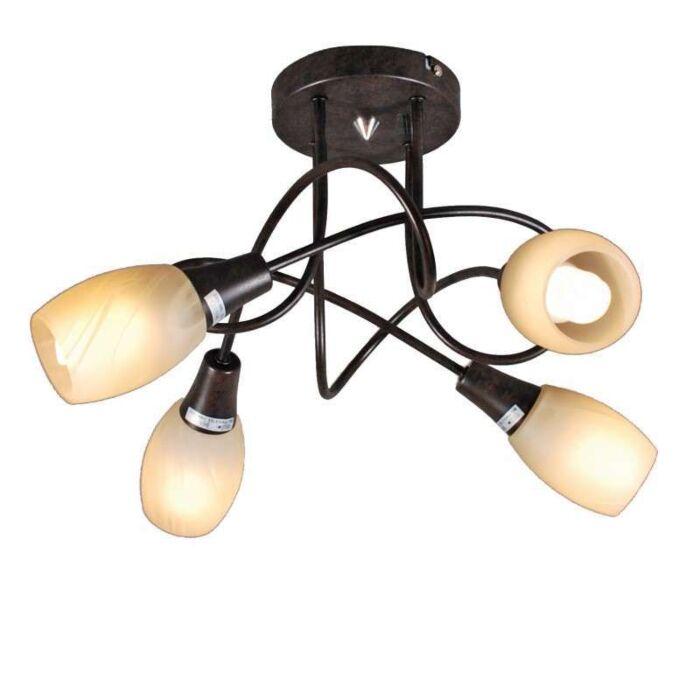 Plafond-'Andrea-4'-Klassisk-brunrost/metall---Passande-för-LED-/-Inomhus