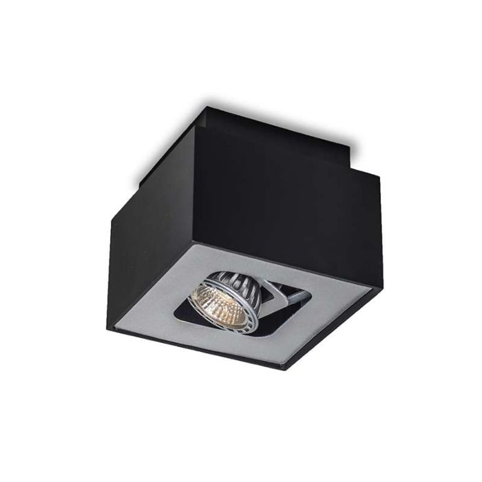 Plafond-strålkastare-'Box-S'-Design-svart/metall---Passande-för-LED-/-Inomhus