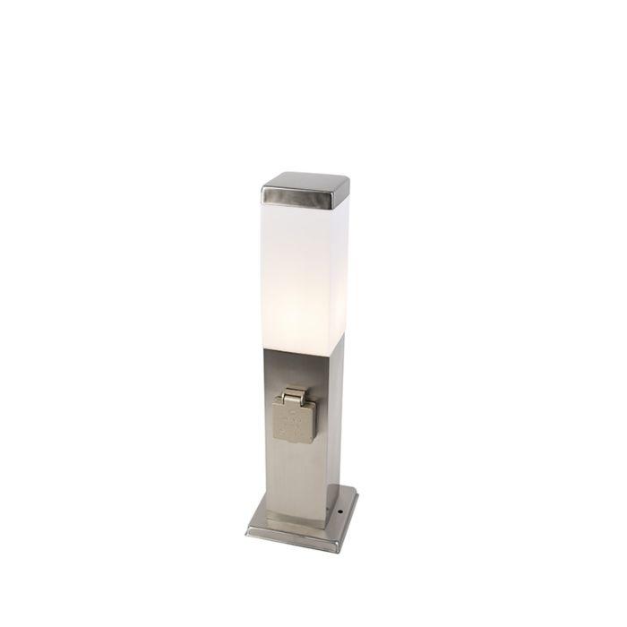 Modern-utomhuslampa-45-cm-stål-med-uttag-IP44---Malios