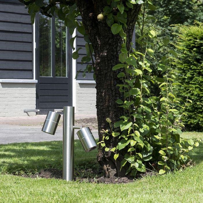 Lykta-till-gång-och-terrass-'Solo-2-35'-Moderna-rostfritt-stål---Passande-för-LED-/-Utomhuslampa