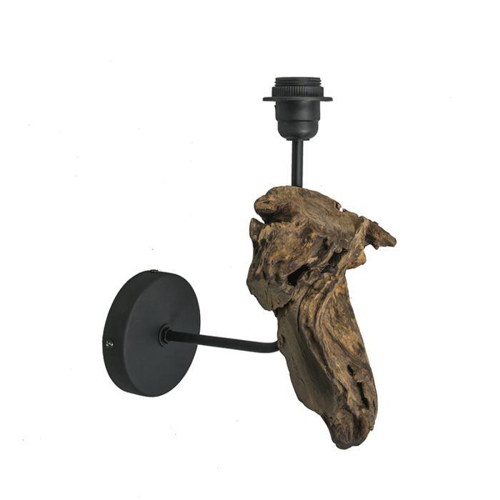Vägglampa-'Suchin'-Lantlig-brun/trä---Passande-för-LED-/-Inomhus