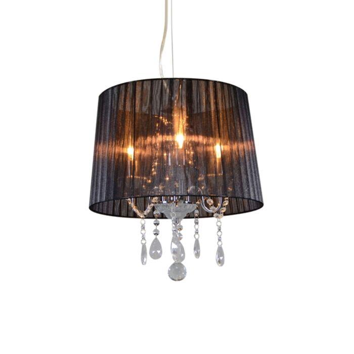 Klassisk-ljuskrona-krom-med-svart-skugga---Ann-Kathrin-3
