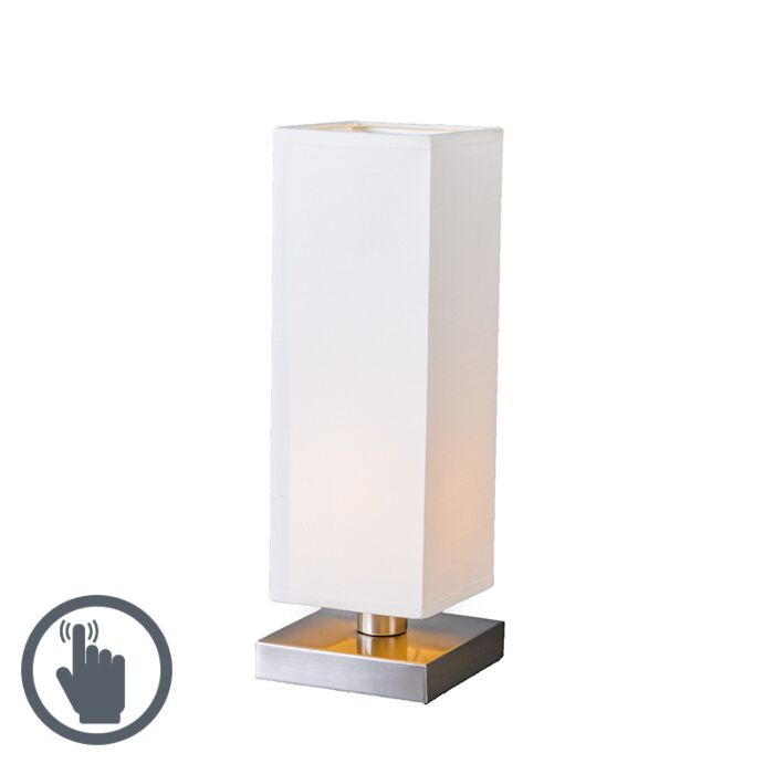 Bordslampa-med-dimmer-'Tower-Touch'-Moderna-vit/tyg