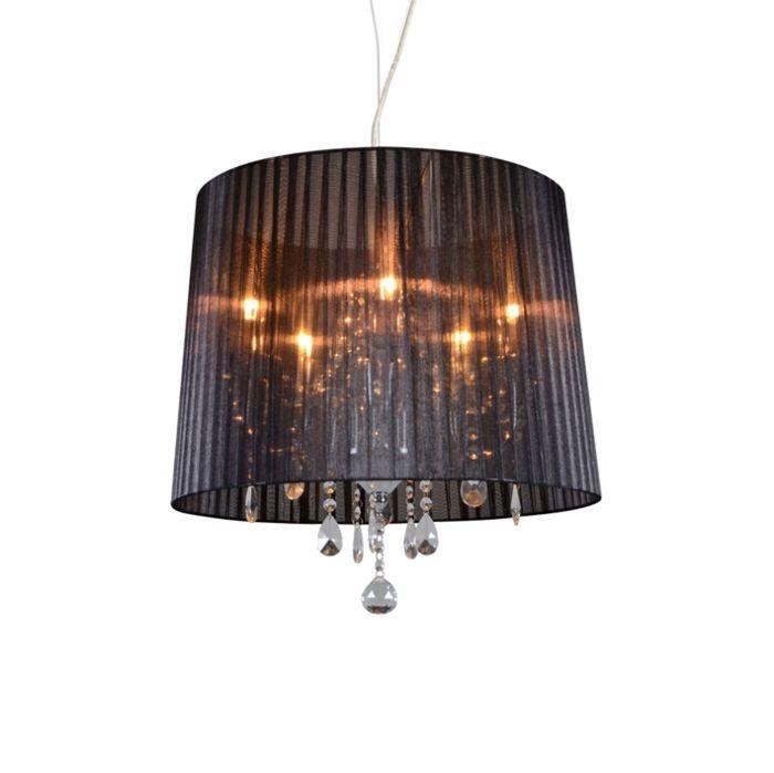 Klassisk-ljuskrona-krom-med-svart-skugga---Ann-Kathrin-5
