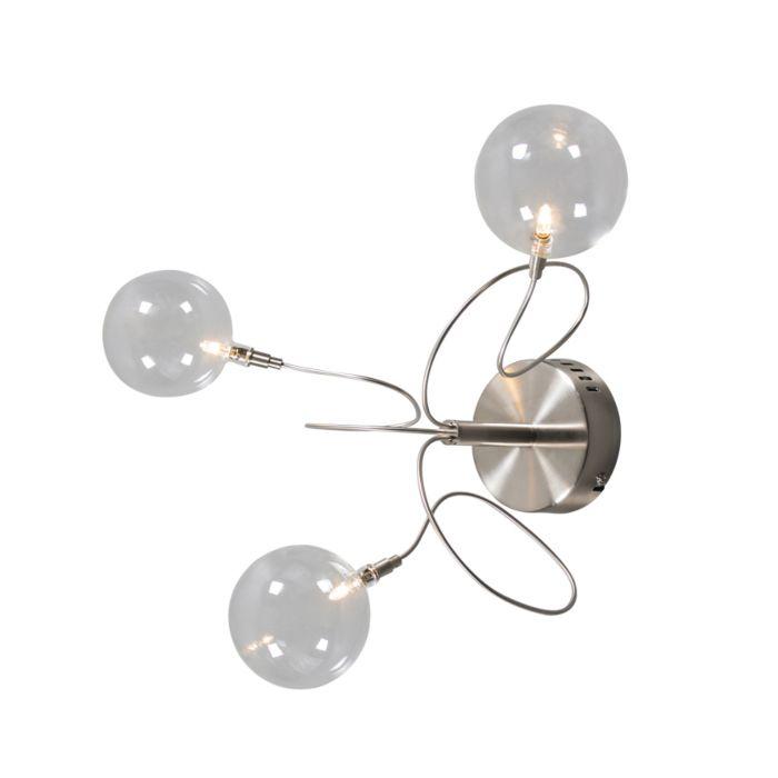 Plafond-och-vägglampa-'Soap-3'-Moderna-transparent/glas---Passande-för-LED-/-Inomhus