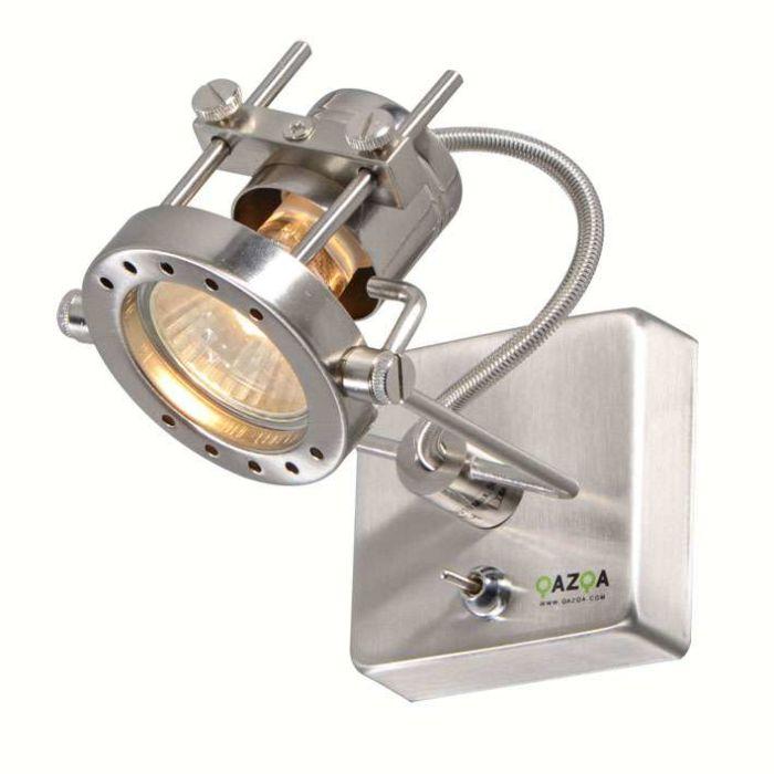Vägglampa-med-kontakt-'Suplux-1'-Moderna-stål---Passande-för-LED-/-Inomhus