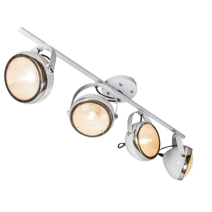Plafond-strålkastare-'Biker-4'-Retro-vit/metall---Passande-för-LED-/-Inomhus
