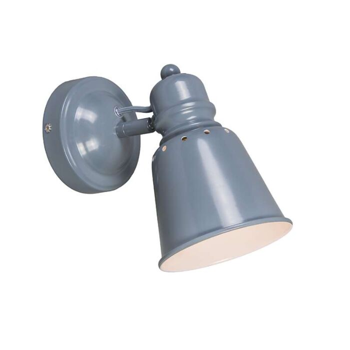 Vägglampa-'Bravo'-Industriell-grå/metall---Passande-för-LED-/-Inomhus
