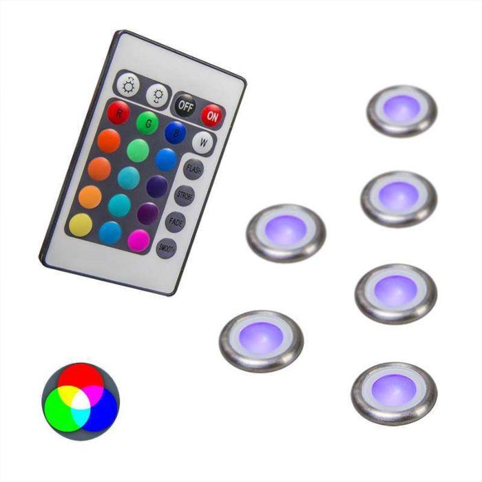 Spotlight/downlight-'Pro-6-IP67-RGB'-Moderna-rostfritt-stål---LED-inkluderat-/-Utomhuslampa,-Inomhus,-Badrum