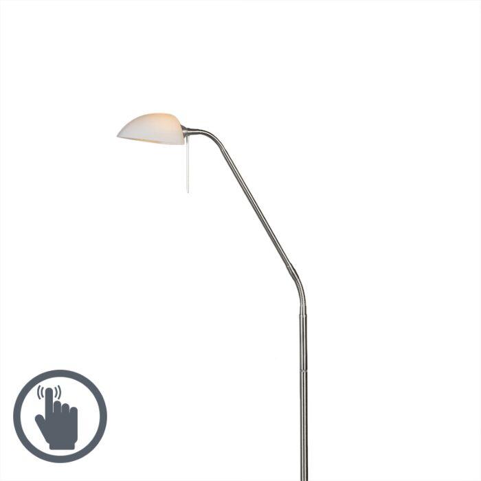 Golvlampa-med-läslampa-'Vince-Glass'-Moderna-stål---Inomhus
