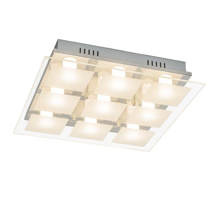 Plafond-'Quadrate-9'-Moderna-krom/glas---LED-inkluderat-/-Inomhus
