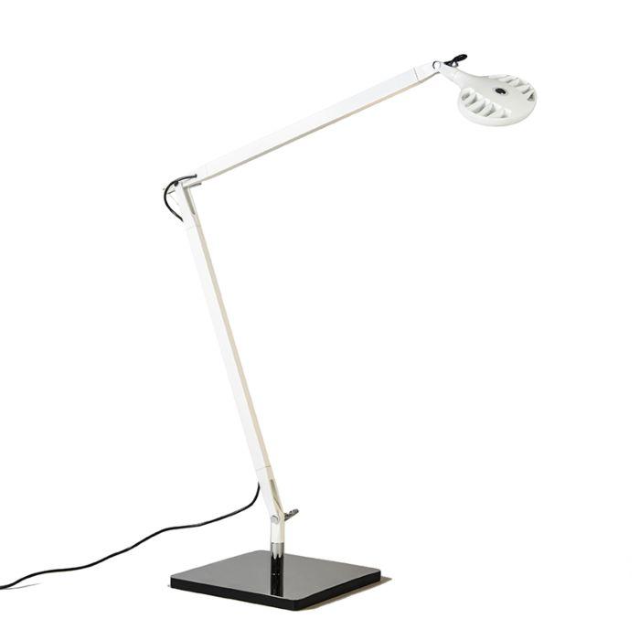Skrivbordslampa-'Rivista'-Moderna-vit/aluminium---LED-inkluderat-/-Inomhus