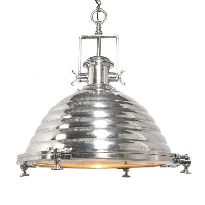 Stor-taklampa-'Fort-XXL'-Industriell-krom/nickel---Passande-för-LED-/-Inomhus