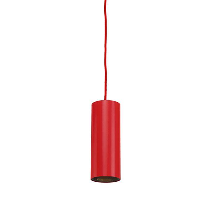 Minimalistisk-taklampa-'Tubo-1'-Design-röd/aluminium---Passande-för-LED-/-Inomhus