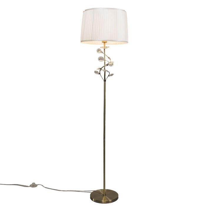 Golvlampa-med-skärm-'Ruffle'-Klassisk-brons---Passande-för-LED-/-Inomhus