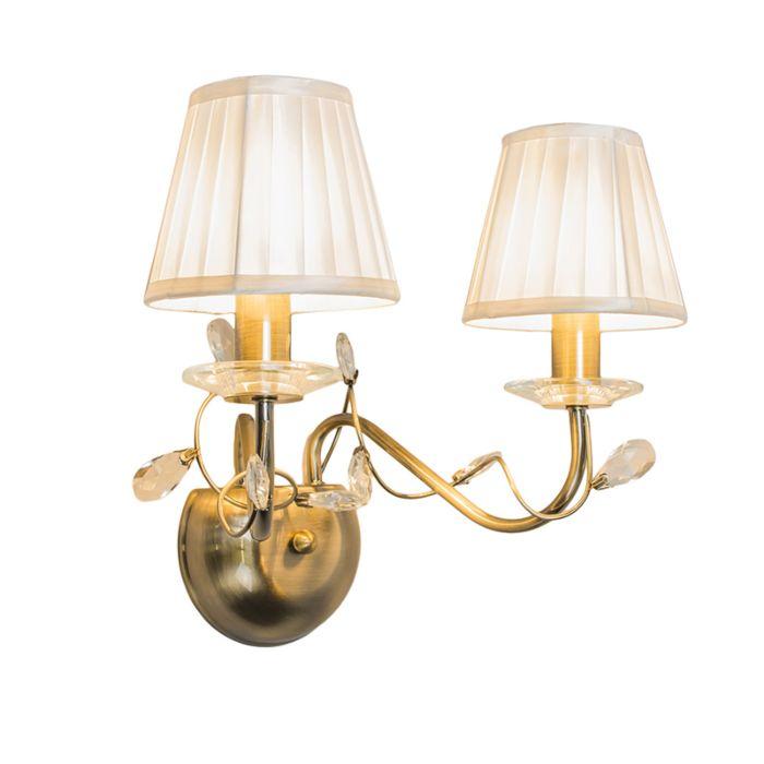 Vägglampa-med-skärm-'Ruffle-2'-Klassisk-brons---Passande-för-LED-/-Inomhus