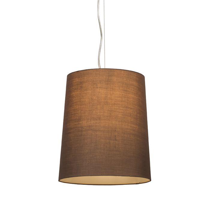 Taklampa-'Cappo-1'-Lantlig-brun/tyg---Passande-för-LED-/-Inomhus