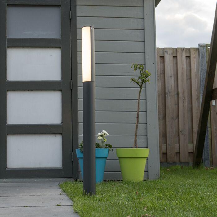 Lykta-till-gång-och-terrass-'Column-90'-Moderna-grafit/aluminium---LED-inkluderat-/-Utomhuslampa