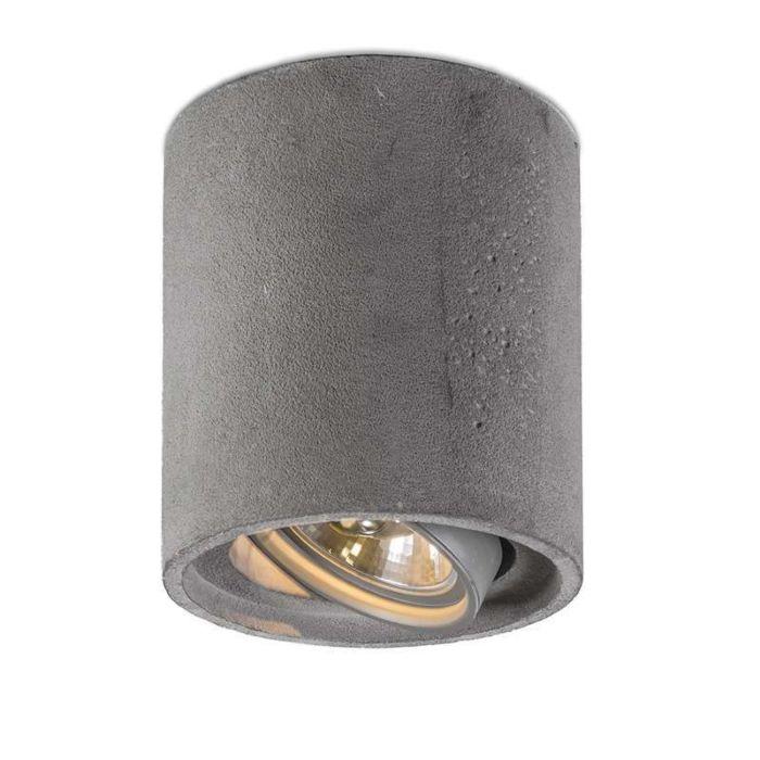 Plafond-strålkastare-'Box-111-Concrete-R'-Moderna-grå/sten/betong-Passande-för-LED