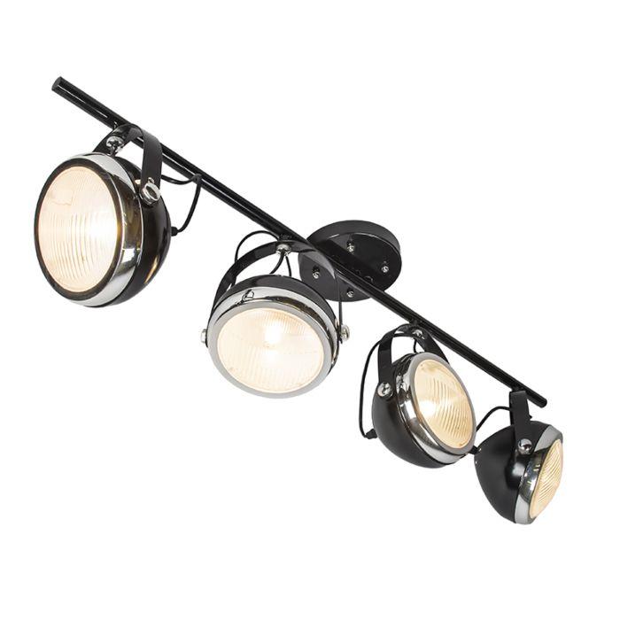 Plafond-strålkastare-'Biker-4'-Retro-svart/metall---Passande-för-LED-/-Inomhus